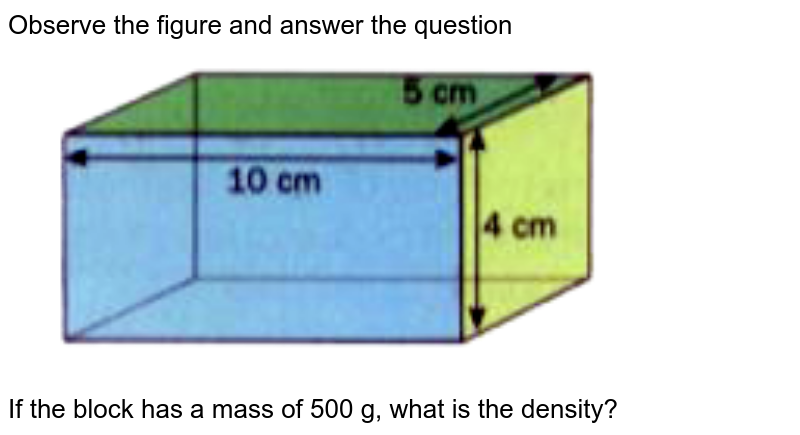 """Observe the figure and answer the question <br> <img src=""""https://doubtnut-static.s.llnwi.net/static/physics_images/OXF_ANN_ICSE_SCI_PHY_VII_MTP_01_E01_033_Q01.png"""" width=""""80%""""> <br> If the block has a mass of 500 g, what is the density?"""