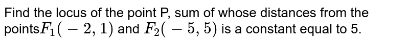 Find the locus of the point P, sum of whose distances from the points`F_1(-2,1)` and `F_2(-5,5)` is a constant equal to 5.
