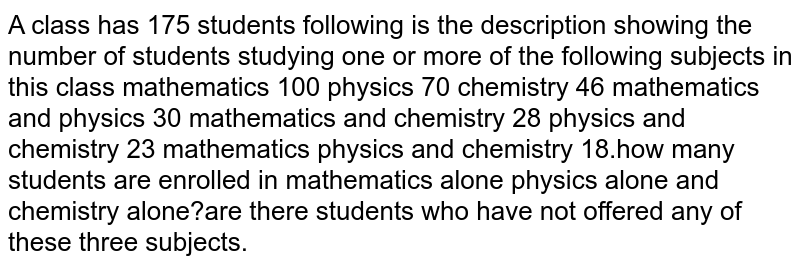 A class has 175 students following is the description showing the number of students studying one or more of the following subjects in this class mathematics 100 physics 70 chemistry 46 mathematics and physics 30 mathematics and chemistry 28 physics and chemistry 23 mathematics physics and chemistry 18.how many students are enrolled in mathematics alone physics alone and chemistry alone?are there students who have not offered any of these three subjects.