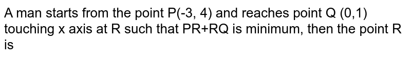 A man starts from the point P(-3, 4) and reaches point Q (0,1) touching x axis at R such that PR+RQ is minimum, then the point R is