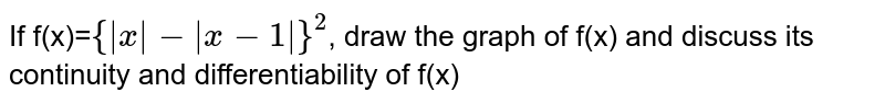 If f(x)=`{ x - x-1 }^2`, draw the graph of f(x) and discuss its continuity and differentiability of f(x)