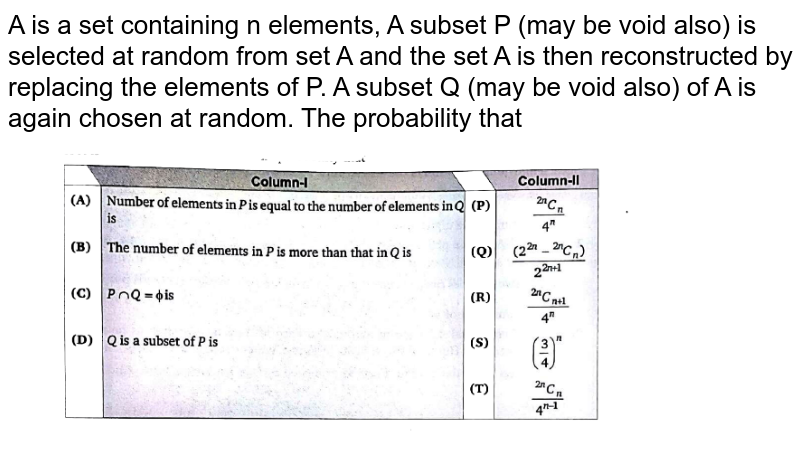 """A is a set containing n elements, A subset P (may be void also) is selected  at random from set A and the set A is then reconstructed  by replacing the elements  of P. A subset Q (may be void also) of A is again chosen  at random. The probability  that <br> <img src=""""https://d10lpgp6xz60nq.cloudfront.net/physics_images/BLJ_VKG_MAT_C15_E04_001_Q01.png"""" width=""""80%"""">"""