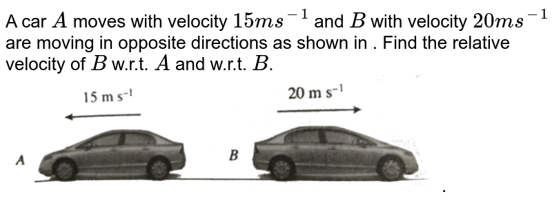 """A car `A` moves with velocity `15 m s^(-1)` and `B` with velocity `20 m s^(-1)` are moving in opposite directions as shown in . Find the relative velocity of `B` w.r.t. `A` and w.r.t. `B`. <br> <img src=""""https://d10lpgp6xz60nq.cloudfront.net/physics_images/BMS_V01_C04_S01_028_Q01.png"""" width=""""80%"""">."""