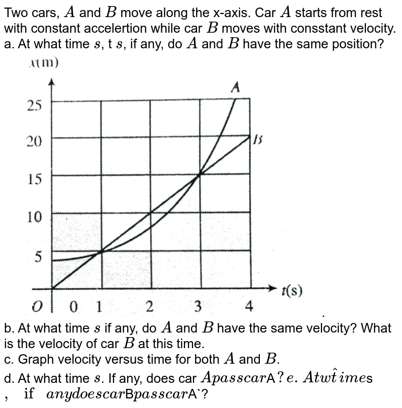 """Two cars, `A` and `B` move along the x-axis. Car `A` starts from rest with constant accelertion while car `B` moves with consstant velocity. <br> a. At what time `s`, t `s`, if any, do `A` and `B` have the same position? <br> <img src=""""https://d10lpgp6xz60nq.cloudfront.net/physics_images/BMS_V01_C04_E01_056_Q01.png"""" width=""""80%"""">. <br> b. At what time `s` if any, do `A` and `B` have the same velocity? What is the velocity of car `B` at this time. <br> c. Graph velocity versus time for both `A` and `B`. <br> d. At what time `s`. If any, does car `A  pass  car   `A`? <br> e. At  what   time `s`,  if  any  does  car  `B` pass  car  `A`?"""