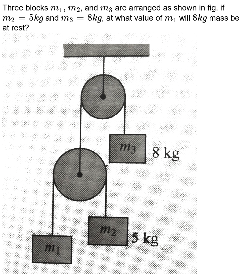 """Three blocks `m_(1), m_(2)`, and `m_(3)`  are arranged as shown in fig. if `m_(2)=5 kg` and `m_(3)=8kg`, at what value of `m_(1)` will `8kg` mass be at rest? <br> <img src=""""https://d10lpgp6xz60nq.cloudfront.net/physics_images/BMS_V01_C06_E01_032_Q01.png"""" width=""""80%"""">"""