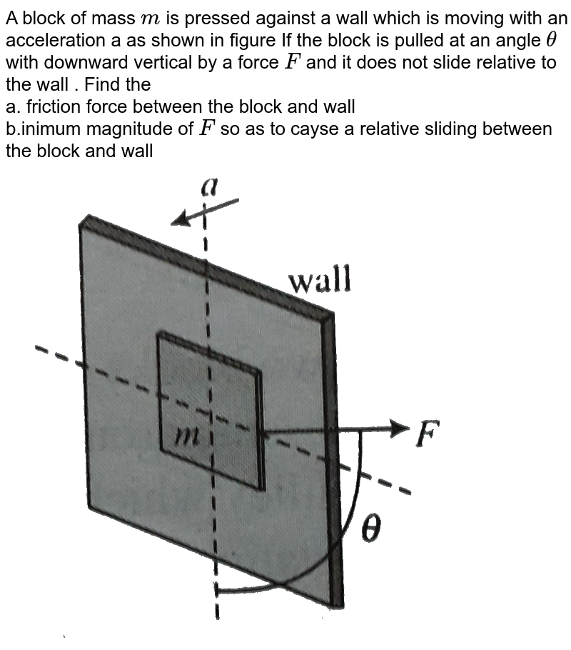 """A block of mass `m` is pressed against a wall which is moving with an acceleration a as shown in figure If the block is pulled at an angle `theta` with downward vertical by a force `F` and it does not slide relative to the wall . Find the <br> a. friction force between the block and wall <br> b.inimum magnitude of `F` so as to cayse a relative sliding between the block and wall <br><img src=""""https://d10lpgp6xz60nq.cloudfront.net/physics_images/BMS_V01_C07_E01_080_Q01.png"""" width=""""80%"""">"""