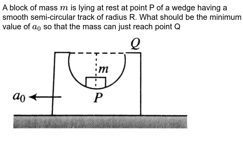 """A block of mass `m` is lying at rest at point P of a wedge having a smooth semi-circular track of radius R. What should be the minimum value of `a_0` so that the mass can just reach point Q <br> <img src=""""https://d10lpgp6xz60nq.cloudfront.net/physics_images/BMS_V01_C08_E01_210_Q01.png"""" width=""""80%"""">"""