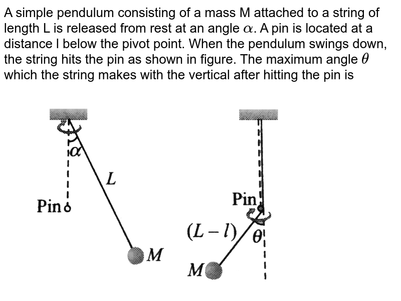 """A simple pendulum consisting of a mass M attached to a string of length L is released from rest at an angle `alpha`. A pin is located at a distance l below the pivot point. When the pendulum swings down, the string hits the pin as shown in figure. The maximum angle `theta` which the string makes with the vertical after hitting the pin is <br> <img src=""""https://d10lpgp6xz60nq.cloudfront.net/physics_images/BMS_V01_C08_E01_213_Q01.png"""" width=""""80%"""">"""