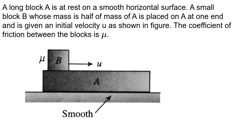 """A long block A is at rest on a smooth horizontal surface. A small block B whose mass is half of mass of A is placed on A at one end and is given an initial velocity u as shown in figure. The coefficient of friction between the blocks is `mu`. <br> <img src=""""https://d10lpgp6xz60nq.cloudfront.net/physics_images/BMS_V01_C08_E01_234_Q01.png"""" width=""""80%"""">"""