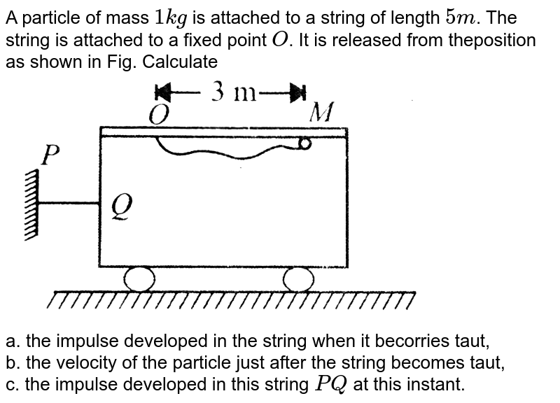 """A particle of mass `1 kg` is attached to a string of length `5 m`. The string is attached to a fixed point `O`. It is released from theposition as shown in Fig. Calculate <br> <img src=""""https://d10lpgp6xz60nq.cloudfront.net/physics_images/BMS_VOL2_C01_E01_047_Q01.png"""" width=""""80%""""> <br> a. the impulse developed in the string when it becorries taut, <br>b. the velocity of the particle just after the string becomes taut, <br>c. the impulse developed in this string `PQ` at this instant."""