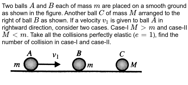 """Two balls `A` and `B` each of mass `m` are placed on a smooth ground as shown in the figure. Another ball `C` of mass `M` arranged to the right of ball `B` as shown. If a velocity `v_(1)` is given to ball `A` in rightward direction, consider two cases. Case-I `M gt m` and case-II `M lt m`. Take all the collisions perfectly elastic  (`e = 1`), find the number of collision in case-I and case-II. <br> <img src=""""https://d10lpgp6xz60nq.cloudfront.net/physics_images/BMS_VOL2_C01_E01_090_Q01.png"""" width=""""80%"""">"""