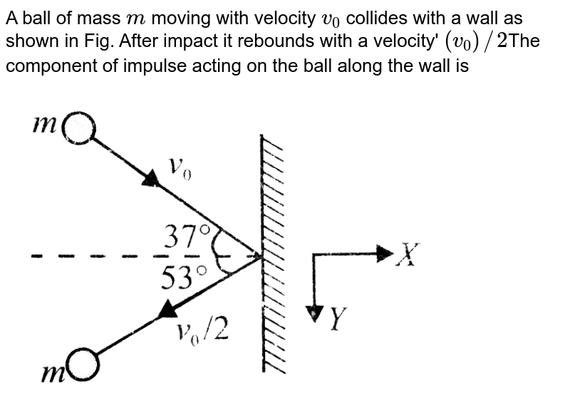 """A ball of mass `m` moving with velocity `v_(0)` collides with a wall as shown in Fig. After impact it rebounds with a velocity' `(v_(0))//2`The component of impulse acting on the ball along the wall is <br> <img src=""""https://d10lpgp6xz60nq.cloudfront.net/physics_images/BMS_VOL2_C01_E01_170_Q01.png"""" width=""""80%"""">"""