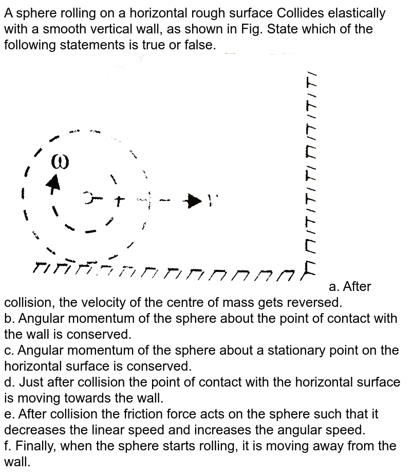 """A sphere rolling on a horizontal rough surface Collides elastically with a smooth vertical wall, as shown in Fig. State which of the following statements is true or false. <br> <img src=""""https://d10lpgp6xz60nq.cloudfront.net/physics_images/BMS_VOL2_C03_E01_046_Q01.png"""" width=""""80%"""">a. After collision, the velocity of the centre of mass gets reversed. <br> b. Angular momentum of the sphere about the point of contact with the wall is  conserved. <br> c. Angular momentum of the sphere about a stationary point on the horizontal surface is conserved. <br> d. Just after collision the point of contact with the horizontal surface is moving towards the wall. <br> e. After collision the friction force acts on the sphere such that it decreases the linear speed and increases the angular speed. <br> f. Finally, when the sphere starts rolling, it is moving away from the wall."""