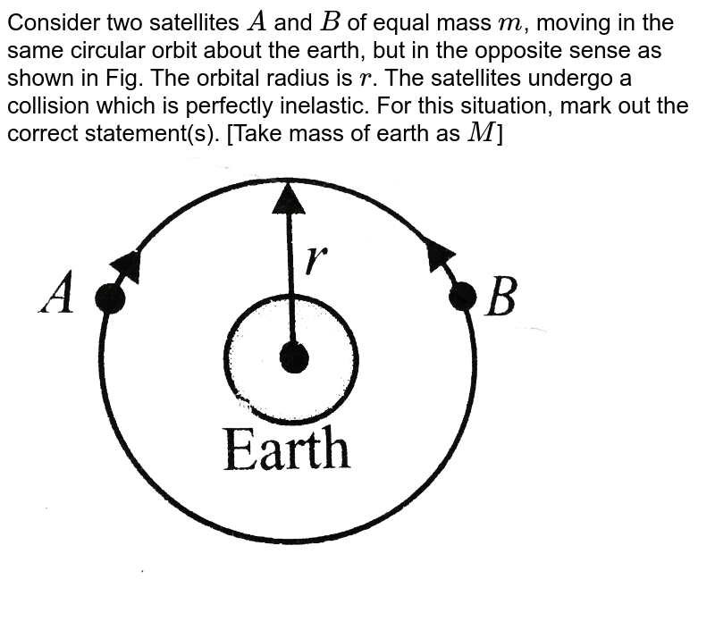 """Consider two satellites `A` and `B` of equal mass `m`, moving in the same circular orbit about the earth, but in the opposite sense as shown in Fig. The orbital radius is `r`. The satellites undergo a collision which is perfectly inelastic. For this situation, mark out the correct statement(s). [Take mass of earth as `M`] <br> <img src=""""https://d10lpgp6xz60nq.cloudfront.net/physics_images/BMS_VOL2_C06_E01_217_Q01.png"""" width=""""80%"""">"""