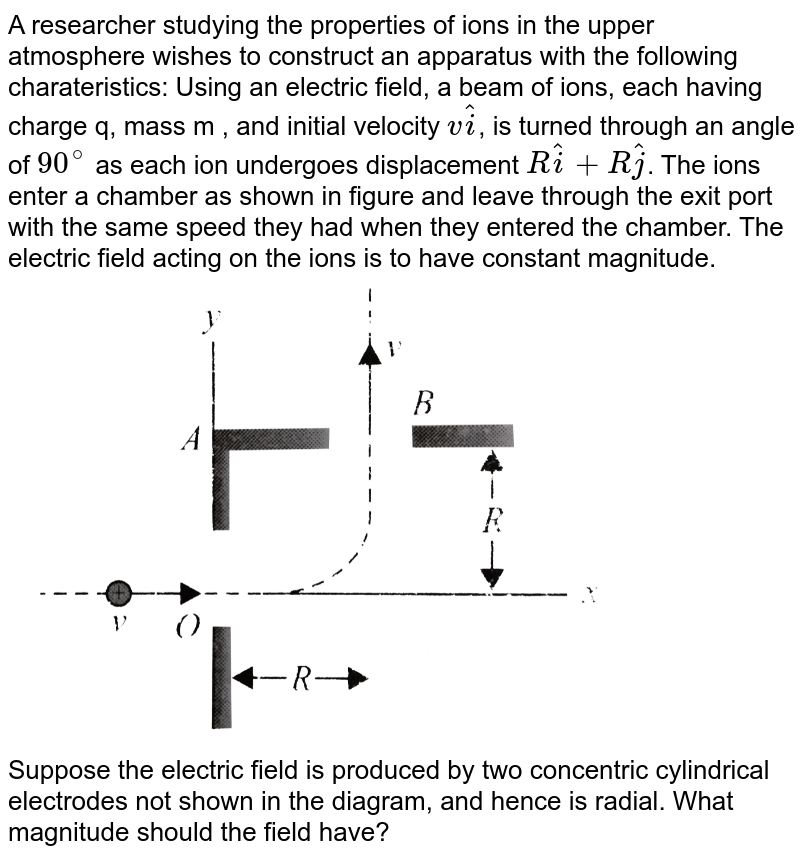 """A researcher studying the properties of ions in the upper atmosphere wishes to construct an apparatus with the following charateristics: Using an electric field, a beam of ions, each having charge q, mass m , and initial velocity `vhati`, is turned through an angle of `90^@` as each ion undergoes displacement `Rhati + Rhatj`. The ions enter a chamber as shown in figure and leave through the exit port with the same speed they had when they entered the chamber. The electric field acting on the ions is to have constant magnitude. <br> <img src=""""https://d10lpgp6xz60nq.cloudfront.net/physics_images/BMS_V03_CA1_E01_190_Q01.png"""" width=""""80%""""> <br> Suppose the electric field is produced by two concentric cylindrical electrodes not shown in the diagram, and hence is radial. What magnitude should the field have?"""