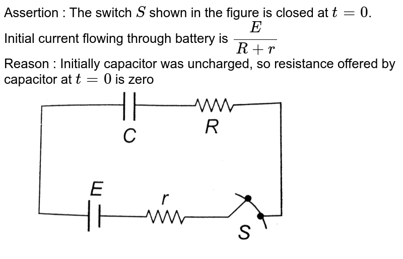 """Assertion : The switch `S` shown in the figure is closed at `t = 0`. Initial current flowing through battery is `(E)/(R + r)` <br> Reason : Initially capacitor was uncharged, so resistance offered by capacitor at `t = 0` is zero <br> <img src=""""https://d10lpgp6xz60nq.cloudfront.net/physics_images/BMS_OBJ_XII_C03_E01_328_Q01.png"""" width=""""80%"""">"""