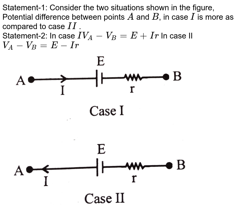 """Statement-1: Consider the two situations shown in the figure, Potential difference between points `A` and `B`, in case `I` is more as compared to case `II` . <br> Statement-2: In case `IV_(A)-V_(B)=E+Ir` In case II `V_(A)-V_(B)=E-Ir` <br> <img src=""""https://d10lpgp6xz60nq.cloudfront.net/physics_images/NG_PHY_C03_E01_130_Q01.png"""" width=""""80%"""">"""