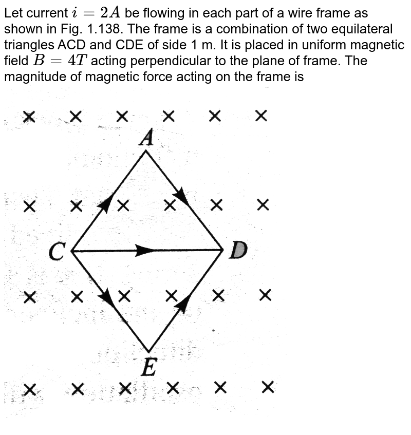 """Let current `i=2A` be flowing in each part of a wire frame as shown in Fig. 1.138. The frame is a combination of two equilateral triangles ACD and CDE of side 1 m. It is placed in uniform magnetic field ` B= 4 T` acting perpendicular to the plane of frame. The magnitude of magnetic force acting on the frame is<br> <img src=""""https://d10lpgp6xz60nq.cloudfront.net/physics_images/BMS_V05_C01_E01_083_Q01.png"""" width=""""80%"""">  <br>"""
