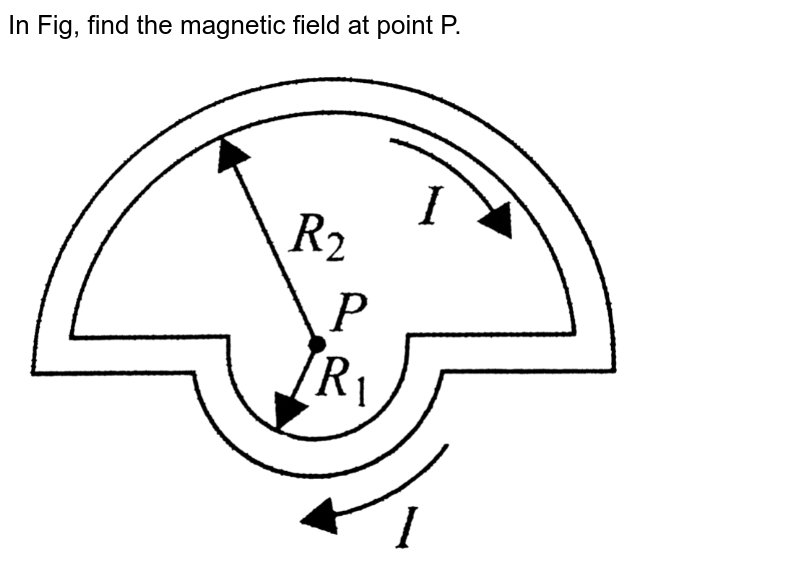 """In Fig, find the magnetic field at point P.  <br> <img src=""""https://d10lpgp6xz60nq.cloudfront.net/physics_images/BMS_V05_C02_E01_025_Q01.png"""" width=""""80%"""">"""