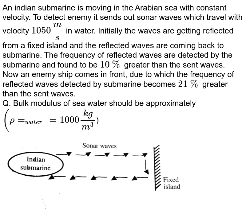 """An indian submarine is moving in the Arabian sea with constant velocity. To detect enemy it sends out sonar waves which travel with velocity `1050(m)/(s)` in water. Initially the waves are getting reflected from a fixed island and the reflected waves are coming back to submarine. The frequency of reflected waves are detected by the submarine and found to be `10%` greater than the sent waves. <br> Now an enemy ship comes in front, due to which the frequency of reflected waves detected by submarine becomes `21%` greater than the sent waves. <br> Q. Bulk modulus of sea water should be approximately `(rho=_(water)=1000(kg)/(m^3)`) <br> <img src=""""https://d10lpgp6xz60nq.cloudfront.net/physics_images/BMS_VO6_C06_E01_140_Q01.png"""" width=""""80%"""">"""