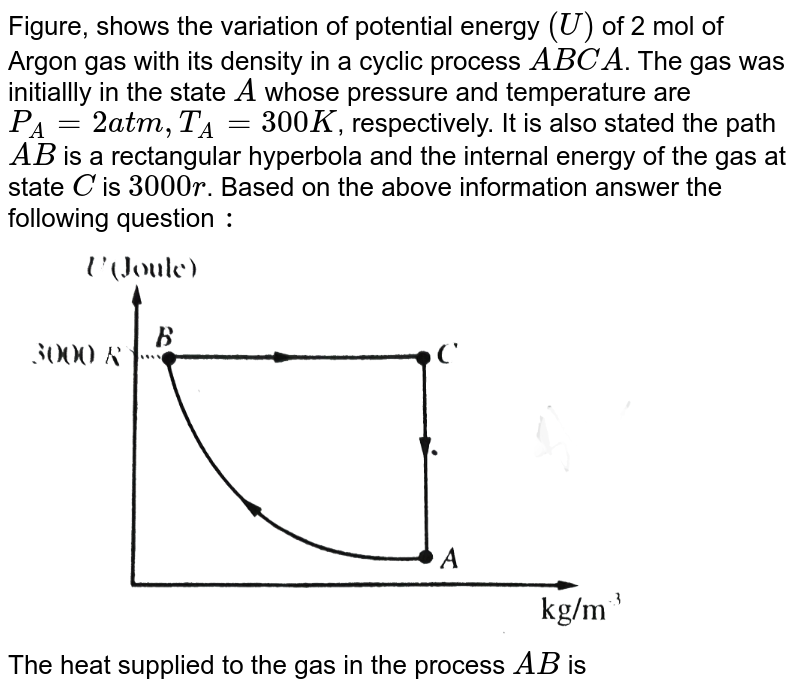 """Figure, shows the variation of potential energy `(U)` of 2 mol of Argon gas with its density in a cyclic process `ABCA`. The gas was initiallly in the state `A` whose pressure and temperature are `P_(A)=2 atm, T_(A)=300K`, respectively. It is also stated the path `AB` is a rectangular hyperbola and the internal energy of the gas at state `C` is `3000r`. Based on the above information answer the following question `:` <br> <img src=""""https://d10lpgp6xz60nq.cloudfront.net/physics_images/BMS_V06_C02_E01_256_Q01.png"""" width=""""80%"""">  <br> The heat supplied to the gas in the process `AB`  is"""