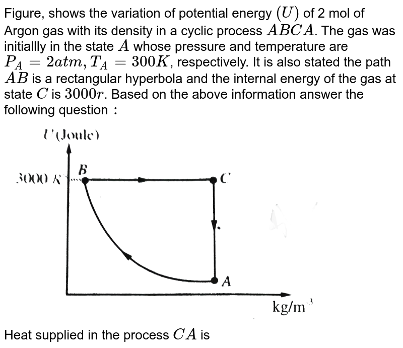 """Figure, shows the variation of potential energy `(U)` of 2 mol of Argon gas with its density in a cyclic process `ABCA`. The gas was initiallly in the state `A` whose pressure and temperature are `P_(A)=2 atm, T_(A)=300K`, respectively. It is also stated the path `AB` is a rectangular hyperbola and the internal energy of the gas at state `C` is `3000r`. Based on the above information answer the following question `:` <br> <img src=""""https://d10lpgp6xz60nq.cloudfront.net/physics_images/BMS_V06_C02_E01_257_Q01.png"""" width=""""80%""""> <br> Heat supplied in the process `CA` is"""