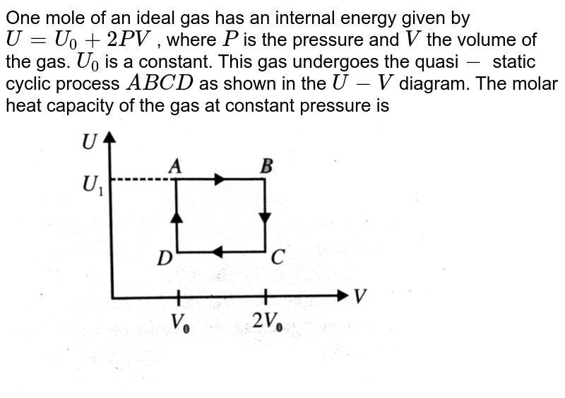 """One mole of an ideal gas has an internal energy given by `U=U_(0)+2PV` , where `P` is the pressure and `V` the volume of the gas. `U_(0)` is a constant. This gas undergoes the quasi`-` static cyclic process `ABCD` as shown in the `U-V` diagram. The molar heat capacity of the gas at constant pressure is   <br> <img src=""""https://d10lpgp6xz60nq.cloudfront.net/physics_images/BMS_V06_C02_E01_258_Q01.png"""" width=""""80%"""">"""