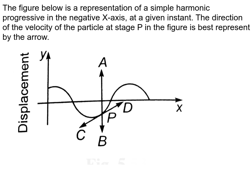 """The figure below is a representation of a simple harmonic progressive in the negative X-axis, at a given instant. The direction of the velocity of the particle at stage P in the figure is best represent by the arrow. <br> <img src=""""https://d10lpgp6xz60nq.cloudfront.net/physics_images/BMS_V06_C05_E01_104_Q01.png"""" width=""""80%"""">"""