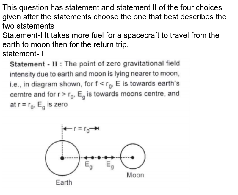 """This question has statement and statement II of the four choices given after the statements choose the one that best describes the two statements <br>  Statement-I It takes more fuel for a spacecraft to travel from the earth to moon then for the return trip.<br> statement-II <br>  <img src=""""https://doubtnut-static.s.llnwi.net/static/physics_images/PAT_PHY_0XI_P03_C09_E12_005_Q01.png"""" width=""""80%"""">"""