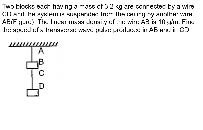 """Two blocks each having a mass of 3.2 kg are connected by a wire CD and the system is suspended from the ceiling by another wire AB(Figure). The linear mass density of the wire AB is 10 g/m. Find the speed of a transverse wave pulse produced in AB and in CD.<br><img src=""""https://doubtnut-static.s.llnwi.net/static/physics_images/PAT_PHY_0XI_P06_C16_E16_019_Q01.png"""" width=""""80%"""">"""