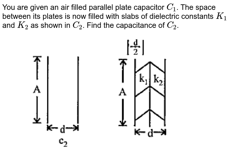"""You are given an air filled parallel plate capacitor `C_1`. The space between its plates is now filled with slabs of dielectric constants `K_1` and `K_2` as shown in `C_2`. Find the capacitance of `C_2`. <img src=""""https://doubtnut-static.s.llnwi.net/static/physics_images/PAT_PHY_XII_B01_C02_E01_016_Q01.png"""" width=""""80%"""">"""