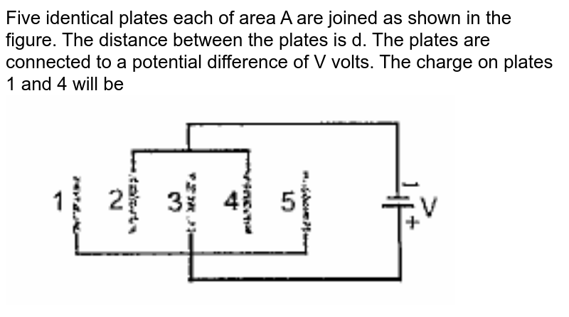 """Five identical plates each of area A are joined as shown in the figure. The distance between the plates is d. The plates are connected to a potential difference of V volts. The charge on plates 1 and 4 will be <br> <img src=""""https://doubtnut-static.s.llnwi.net/static/physics_images/PAT_PHY_XII_P01_C01_E23_040_Q01.png"""" width=""""80%"""">"""