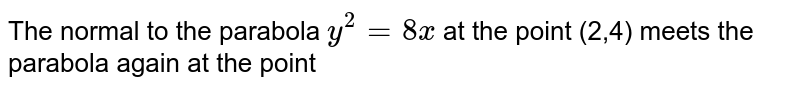 The normal to the parabola `y^(2)=8 x` at the point (2,4) meets the parabola again at the point