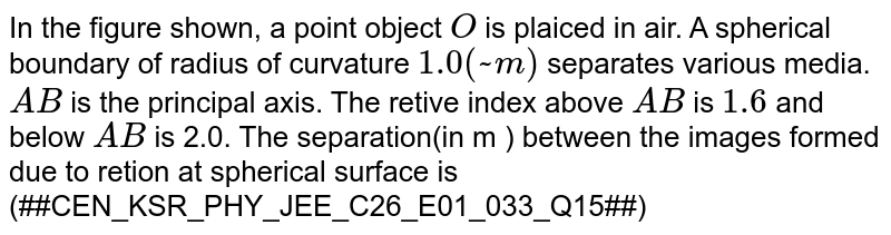 In the figure shown, a point object `O` is plaiced in air. A spherical boundary of radius of curvature `1.0 (~m)` separates various media. `A B` is the principal axis. The retive index above `A B` is `1.6` and below `A B` is 2.0. The separation(in m ) between the images formed due to retion at spherical surface is <br> '(##CEN_KSR_PHY_JEE_C26_E01_033_Q15##)'