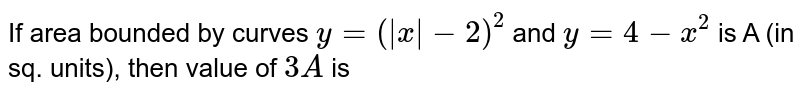 If area bounded by curves `y=( x -2)^2` and `y=4-x^2` is 'A' (in sq. units), then value of `3 A` is