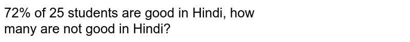 72% of 25 students are good in Hindi, how <br>many are not good in Hindi?