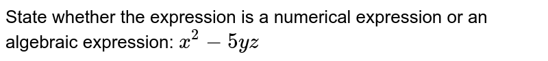 State whether the expression is a numerical expression or an algebraic expression: `x^2-5yz`