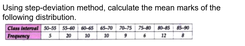 """Using step-deviation method, calculate the mean marks of the following distribution. <br> <img src=""""https://doubtnut-static.s.llnwi.net/static/physics_images/GRU_ICSE_10Y_SP_X_MAT_11_E01_032_Q01.png"""" width=""""80%"""">"""