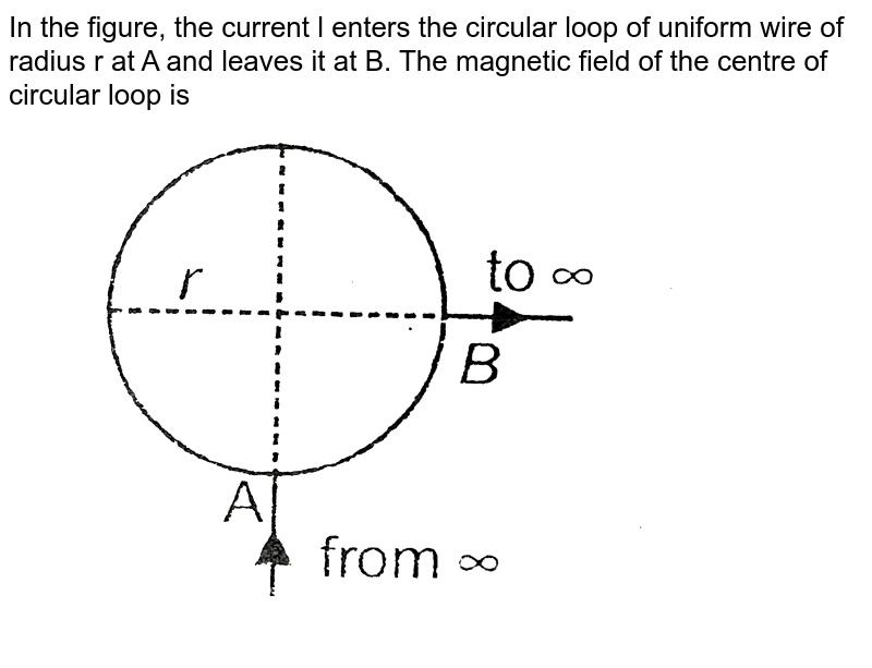 """In the figure, the current l enters the circular loop of uniform wire of radius r at A and leaves it at B. The magnetic field of the centre of circular loop is <br> <img src=""""https://d10lpgp6xz60nq.cloudfront.net/physics_images/AAK_T6_PHY_C17_E03_017_Q01.png"""" width=""""80%"""">"""
