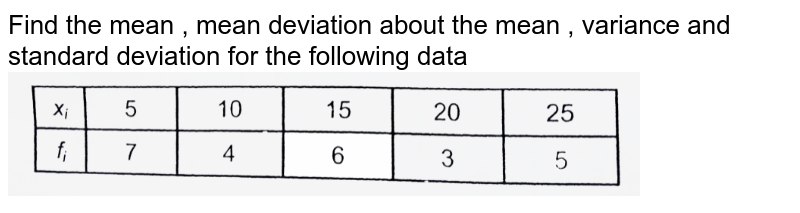 """Find the mean , mean deviation about the mean , variance and standard deviation for the following data <br> <img src=""""https://d10lpgp6xz60nq.cloudfront.net/physics_images/AAK_T7_MATH_C24_SLV_015_Q01.png"""" width=""""80%"""">"""