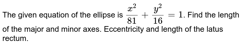 The given equation of the ellipse is `(x^(2))/(81) + (y^(2))/(16) =1`. Find the length of the major and minor axes. Eccentricity and length of the latus rectum.