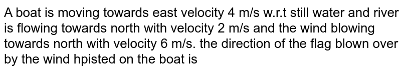 A boat is moving towards east velocity 4 m/s w.r.t still water and river is flowing towards north with velocity 2 m/s and the wind blowing towards north with velocity 6 m/s. the direction of the flag blown over by the wind hpisted on the boat is