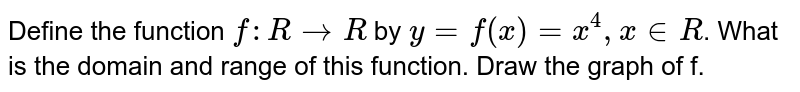 Define the function `f : R rarr R` by `y = f(x) = x^(4), x in R`. What is the domain and range of this function. Draw the graph of f.