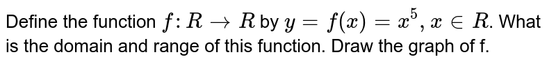 Define the function `f :  R rarr R` by `y = f(x) = x^(5), x in R`. What is the domain and range of this function. Draw the graph of f.