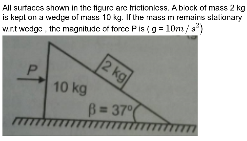 """All surfaces shown in the figure are frictionless. A block of mass 2 kg is kept on a wedge of mass 10 kg. If the mass m remains stationary w.r.t wedge , the magnitude of force P is ( g = `10 m//s^(2))` <br> <img src=""""https://d10lpgp6xz60nq.cloudfront.net/physics_images/AAK_T1_PHY_C03_E03_020_Q01.png"""" width=""""80%"""">"""