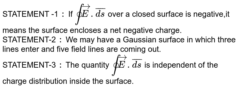 STATEMENT -1 `:`  If `ointvec(E).bar(ds)` over  a closed  surface is  negative,it means the surface encloses a net  negative charge. <br> STATEMENT-2 `:`  We may have a  Gaussian  surface in which three lines enter  and five field lines are  coming out. <br> STATEMENT-3 `:` The quantity `ointvec(E).bar(ds)` is independent  of the charge distribution  inside the surface.