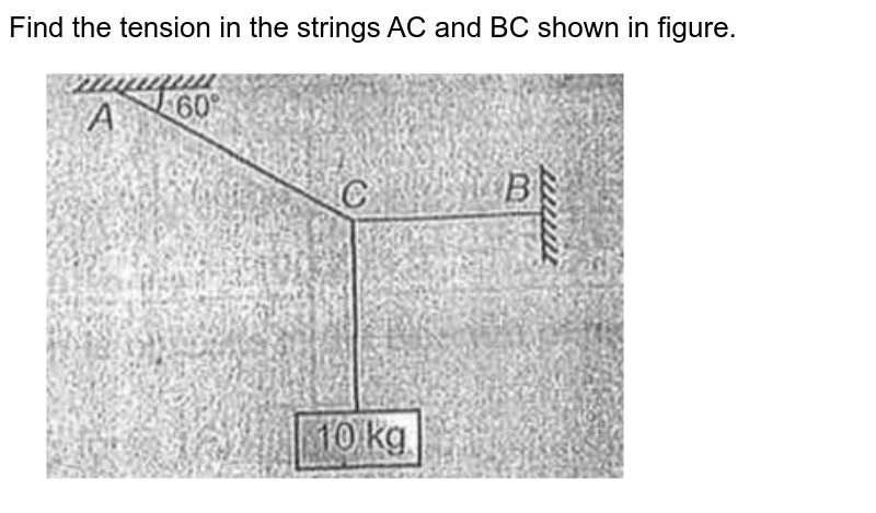 """Find the tension in the strings AC and BC shown in figure. <br> <img src=""""https://d10lpgp6xz60nq.cloudfront.net/physics_images/AAK_P2_NEET_PHY_SP2_C05_E01_023_Q01.png"""" width=""""80%"""">"""