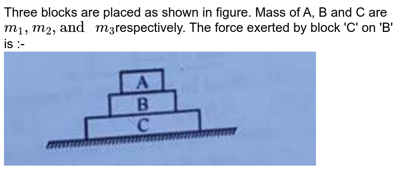 """Three blocks are placed as shown in figure. Mass of A, B and C are `m_(1), m_(2),""""and """"m_(3)`respectively. The force exerted by block 'C' on 'B' is :- <br> <img src=""""https://d10lpgp6xz60nq.cloudfront.net/physics_images/ALN_PHY_R02_E05_006_Q01.png"""" width=""""80%"""">"""
