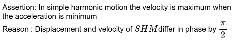 Assertion: In simple harmonic motion the velocity is maximum when the acceleration is minimum <br> Reason : Displacement and velocity of `SHM`differ in phase by `(pi)/(2)`