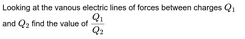 Looking at the vanous electric lines of forces between charges `Q_(1)` and `Q_(2)` find the value of `(Q_(1))/(Q_(2))`